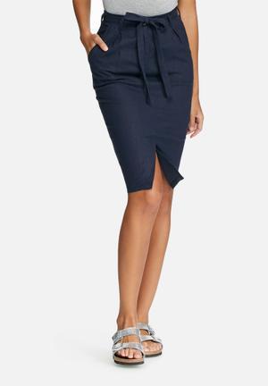 Dailyfriday Linen Pleated Skirt Navy