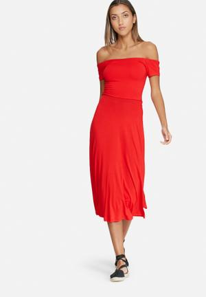 Dailyfriday Wrap Back Off Shoulder Midi Dress Casual Red