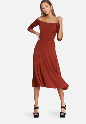 Dailyfriday Wrap Back Ballerina Sleeve Midi Dress Casual Rust