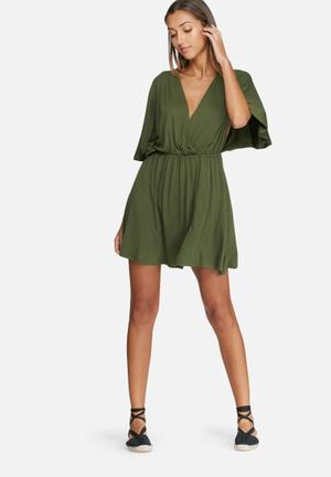 Dailyfriday Kimono Sleeve Short Dress Casual Khaki