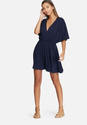 Dailyfriday Kimono Sleeve Short Dress Casual Navy