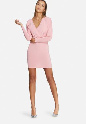 Dailyfriday Long Sleeve V-neck Bodycon Dress Occasion Pink