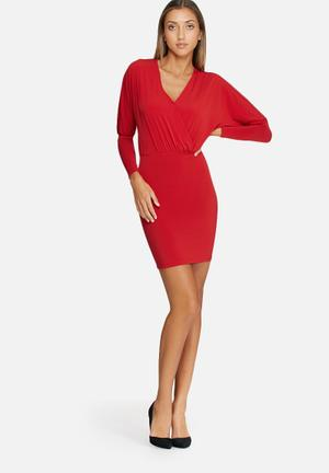 Dailyfriday Long Sleeve V-neck Bodycon Dress Occasion Red