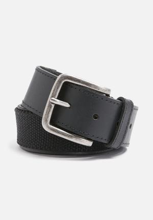 Basicthread Leather And Canvas Belt Black
