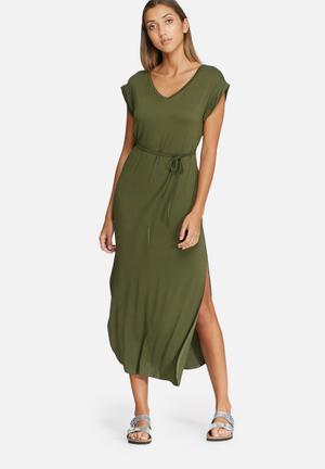 Dailyfriday V-neck Slouch Maxi Dress Casual Khaki Green