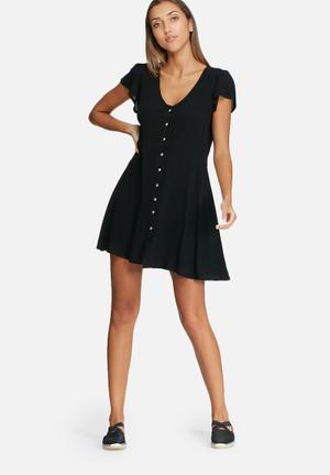 Dailyfriday V-neck Button Up Dress Casual Black