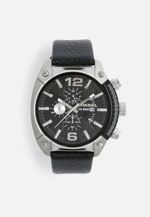 Diesel  Overflow Watches Silver Case With Black Strap