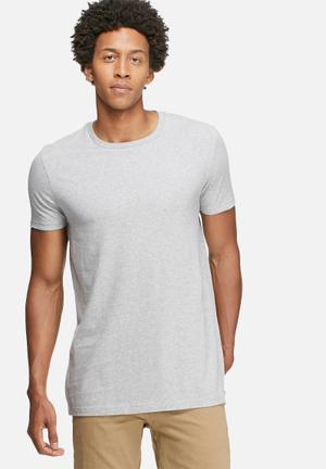 Basicthread Longline Crew Neck Tee T-Shirts & Vests Grey Melange