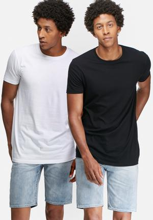 Basicthread 2 Pack Longline Crew Neck Tee T-Shirts & Vests Black & White
