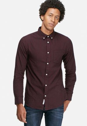 Jack & Jones Originals James Slim Shirt Maroon & Black