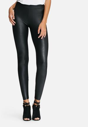 Pieces New Shiny Leggings Trousers Black