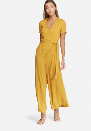 Dailyfriday Wrap Front Jumpsuit Mustard