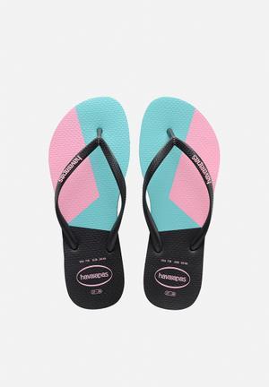 Havaianas Women's Slim Colour Block Sandals & Flip Flops Black, Pink & Blue