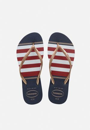 Havaianas Women's Slim Nautical Sandals & Flip Flops Navy & Red