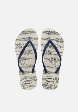 Havaianas Women's Slim Nautical Sandals & Flip Flops White & Navy