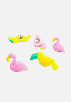 Mustard  Tropical Push Pins Gifting & Stationery