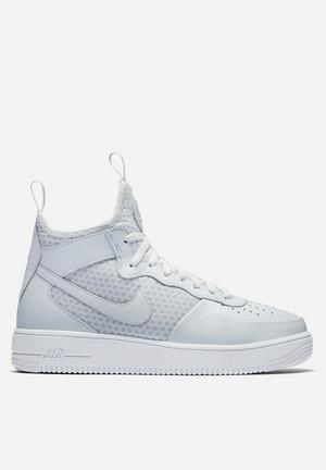 Nike AF1 Ultraforce Mid Sneakers  Pure Platinum / White