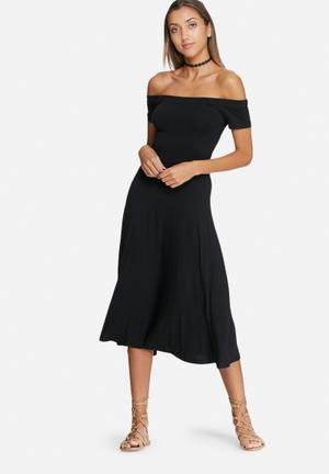 Dailyfriday Wrap Back Off Shoulder Midi Dress Casual Black