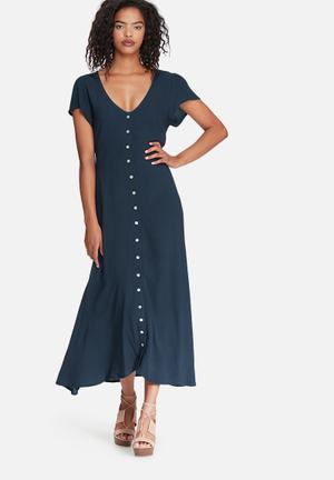 Dailyfriday V-neck Button Up Midi Dress Casual Navy