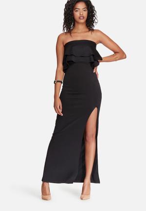 Dailyfriday Scuba Frill Boobtube Maxi Dress Occasion Black