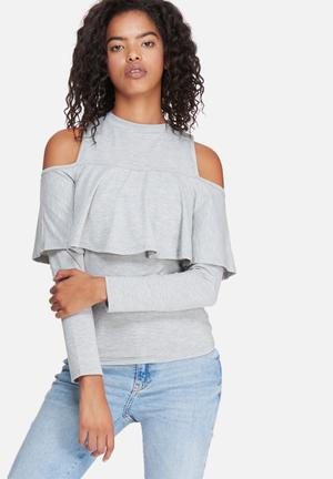 Dailyfriday Ruffle Knit Top T-Shirts, Vests & Camis Grey