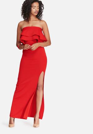 Dailyfriday Scuba Frill Boobtube Maxi Dress Occasion Red