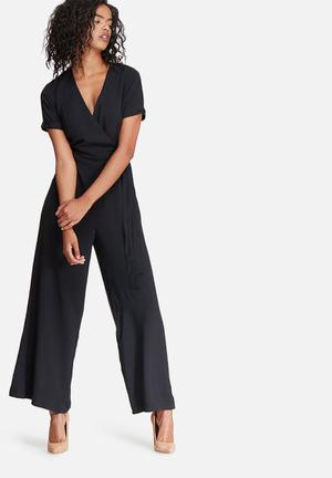 Dailyfriday Wrap Front Jumpsuit Black