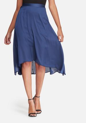 Dailyfriday High Low Skirt With Side Slits Navy