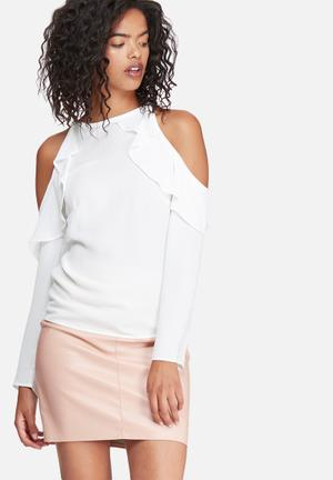 Dailyfriday Fitted Cold Shoulder Ruffle Blouse White
