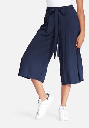 Dailyfriday Pleated Culotte Soft Pants Trousers Navy