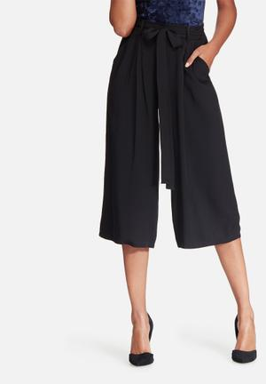 Dailyfriday Pleated Culotte Soft Pants Trousers Black