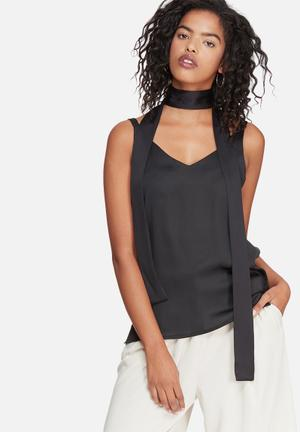 Dailyfriday Cami With Self Fabric Neck Tie Blouses Black