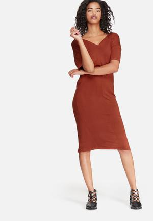 Dailyfriday V-neck Midi Dress With Buttons Casual Brown