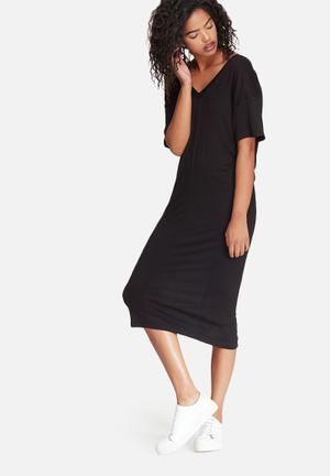 Dailyfriday V-neck Midi Dress With Buttons Casual Black