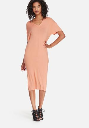 Dailyfriday V-neck Midi Dress With Buttons Casual Peach
