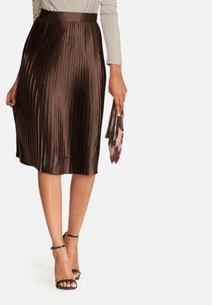 Glamorous Pleated Satin Skirt Brown