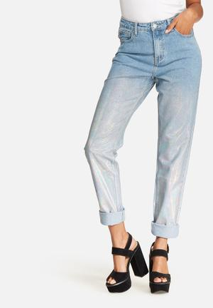 Glamorous Light Holographic Jeans Blue & Pearlescent