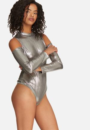 Glamorous Cold Shoulder Bodysuit T-Shirts, Vests & Camis Silver
