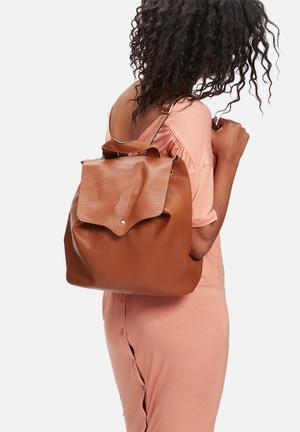 Glamorous Flap Over Backpack Bags & Purses Tan