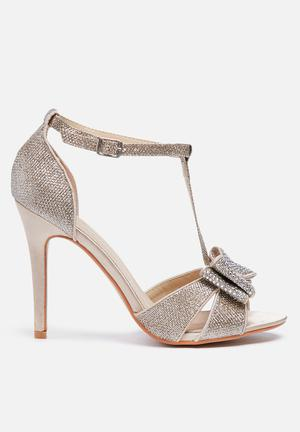 Glamorous Mia Glitter Bow Heel Gold