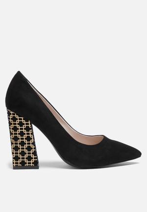 Glamorous Aria Printed Heel Black
