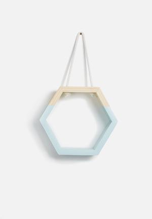 Sixth Floor Hexagon Hanging Shelf Pine Wood & Rope