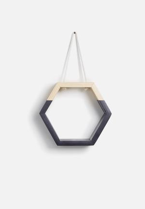 Sixth Floor Hexagon Hanging Shelf Pine Wood & Rope