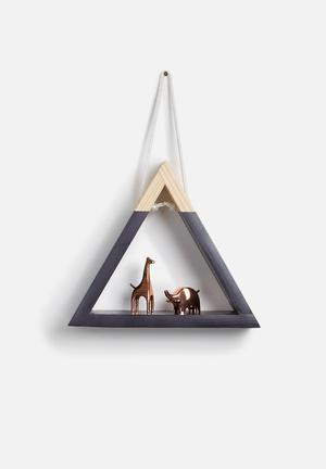 Sixth Floor Triangle Hanging Shelf Pine Wood & Rope