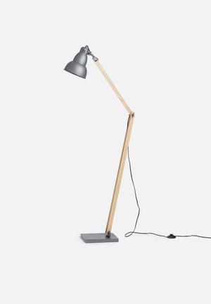 Sixth Floor Grey Standing Lamp Lighting Metal & Wood