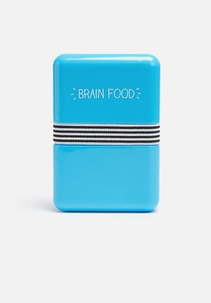 Wild & Wolf Brain Food Lunch Box Kitchen Accessories Blue, Yellow, Black & White