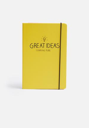 Wild & Wolf Great Ideas A5 Notebook Gifting & Stationery Yellow, Black & Red
