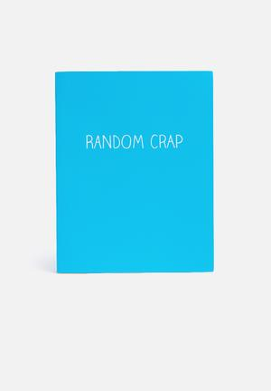 Wild & Wolf Random Crap Large Jotter Gifting & Stationery Blue, Yellow & White