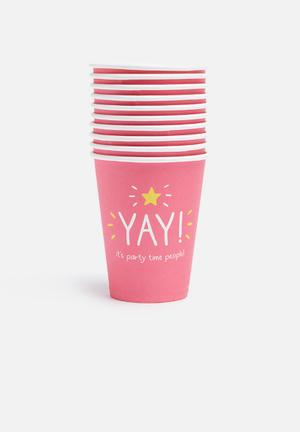 Wild & Wolf Yay Party Cups Partyware Pink, White & Yellow