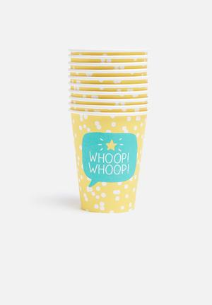 Wild & Wolf Whoop Whoop Party Cups Partyware Yellow, White & Green